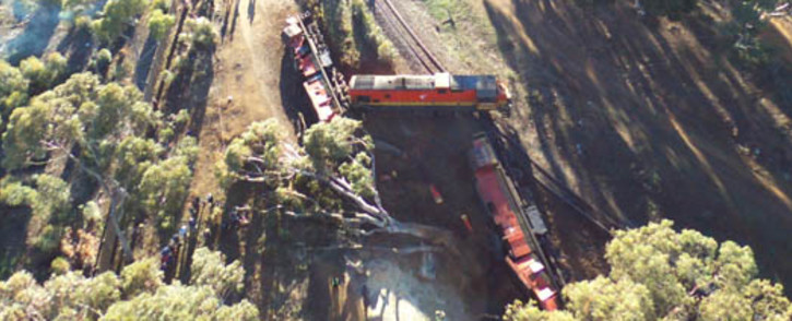 A train derailed near Sir Lowry's Pass in Cape Town on 21 June 2016. Picture: Zayin Krige.