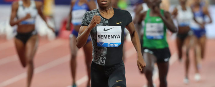 Caster Semenya competes in the women's 800m during the IAAF Diamond League competition on 3 May 2019 in Doha. Picture: AFP