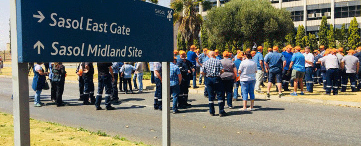 Employees affiliated to Solidarity protest against what they call the exclusion of white workers through Sasol's Khanyisa scheme. Picture: @solidariteit/Twitter