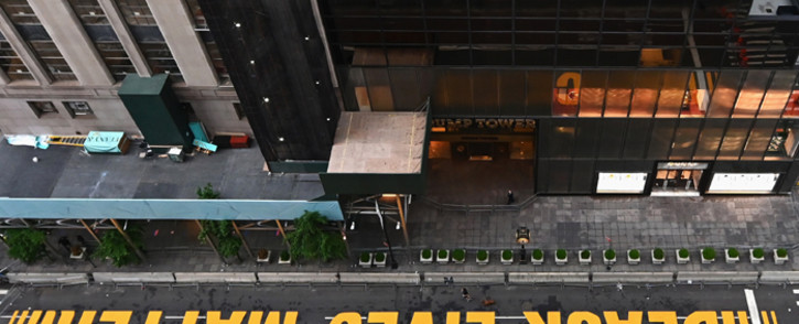 FILE: A newly painted Black Lives Matter mural adorns Fifth Avenue outside of Trump Tower on July 10, 2020 in New York City. Picture: AFP.