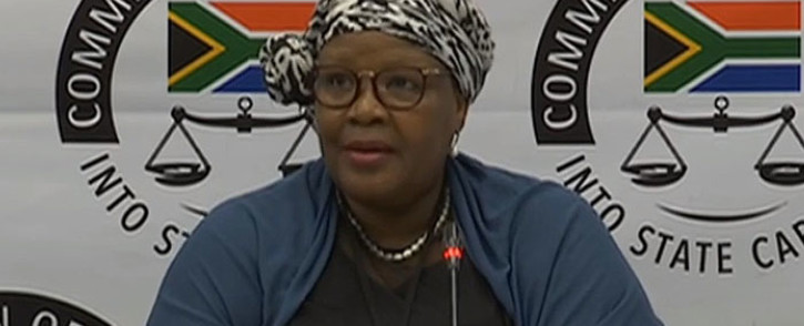 A screengrab of Vytjie Mentor giving testimony at the Zondo Commission on 12 February 2019.