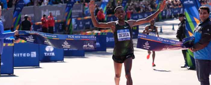 Ethiopian Lelisa Desisa crosses the finish line at the New York City Marathon. Picture: @nycmarathon/Twitter.