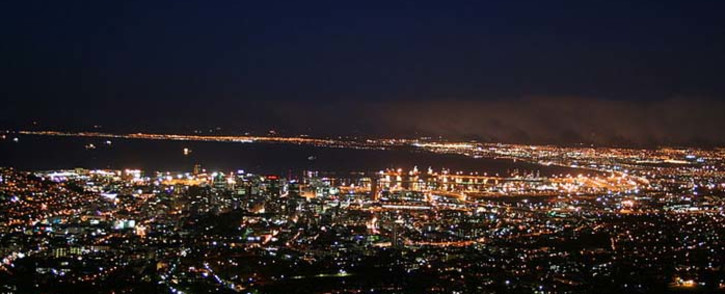 Cape Town city bowl at night as seen from the foot of Table Mountain. Picture: Wikimedia Commons.