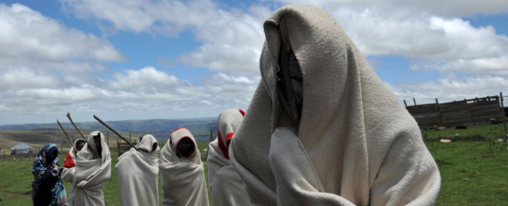 FILE: A picture of young boys from the Xhosa tribe attending a traditional initiation school in Libode in the Eastern Cape province. Picture: AFP
