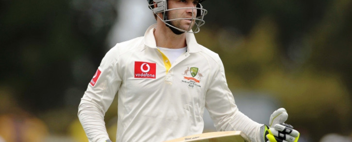 Australian batsman Phillip Hughes leaves the ground frustrated after being bowled on 86 by Chanaka Welegedara on day 1 of the first cricket test match between Australia and Sri Lanka at Blundstone Arena in Hobart, Australia, 14 December 2012. Picture: EPA.