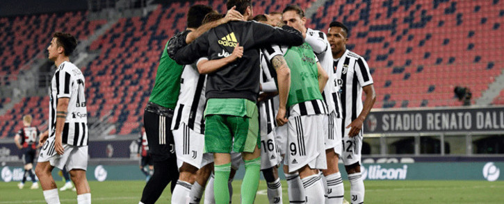 Juventus players celebrate after qualifying for the Champions League on 23 May 2021. Picture: @juventusfcen/Twitter.