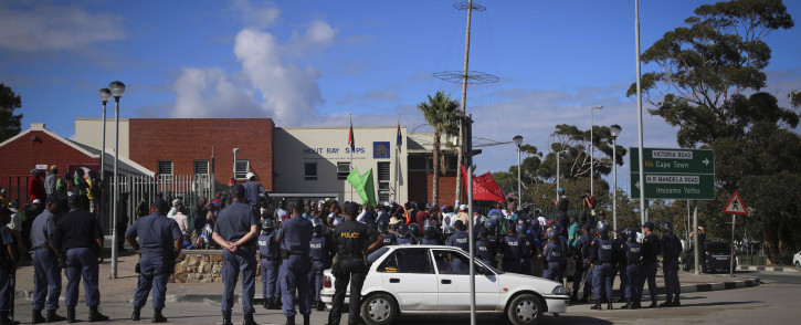 A group of protesters in front of the Hout Bay SAPS station. Picture: Cindy Archillies