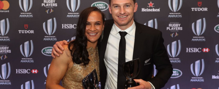 World Rugby women's Player of the Year Portia Woodsman with Player of the Year Beauden Barrett. Picture: @AllBlacks/Twitter