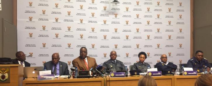 Police Minister Nathi Nhleko briefing the media on the 2015/16 crime statistics. Picture: Xolani Koyana/EWN.