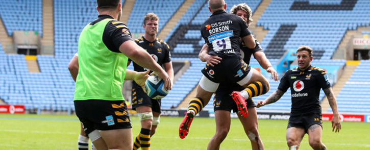 London Wasps players celebrate their victory over the Bristol Bears in their Premiership semifinal match on 10 October 2020. Picture: @WaspsRugby/Twitter