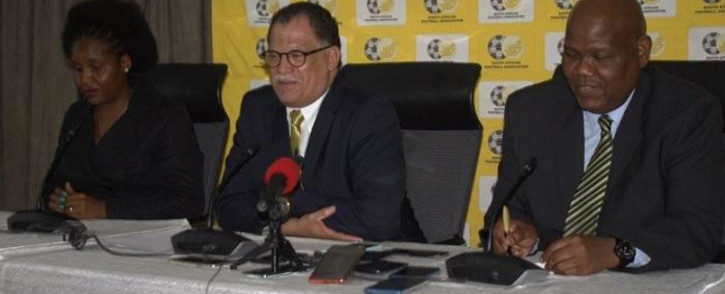 FILE: Safa president (C) Danny Jordaan at a media briefing. Picture: Safa.net