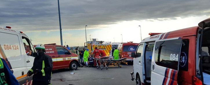 At least 7 people were killed in a collision between a minibus taxi and a truck in Melkbosstrand on 8 June 2021. Picture: ER24/Twitter