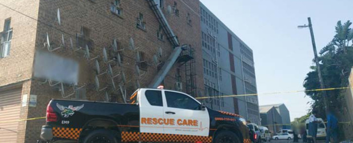 A five-year-old Durban girl died on 2 December 2019 after she fell out of a window from the fourth floor of a building in Clairwood. Picture: Rescue Care.