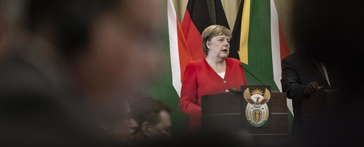 German Chancellor Angela Merkel addressing the media at the Union Buildings in Pretoria on 6 February 2020. Picture: Sethembiso Zulu\EWN