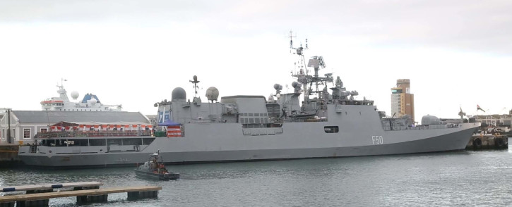 A view of the INS Tarkash in Cape Town. Picture: Kevin Brandt/EWN.
