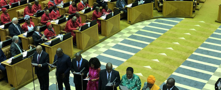 ANC president Cyril Ramaphosa, Nkosazana Dlamini Zuma, national chairperson of the African National Congress Gwede Mantashe, Lindiwe Sisulu, Bheki Cele, Zweli Mkhize, Pravin Gordhan and Naledi Pandor are sworn in as MPs in Parliament on 22 May 2019. Picture: Jason Felix/EWN.