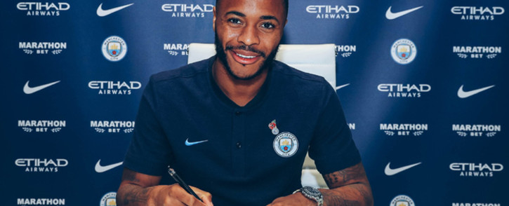 England winger Raheem Sterling has finally agreed to the bumper new deal with Manchester City. Picture: @ManCity/Twitter.