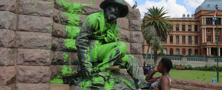FILE: Paul Kruger and the four Burghers statue is just one of the many that have been defaced and caught in the transformation debate. Picture: Vumani Mkhize/EWN.