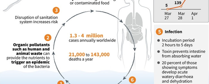 Factfile on cholera and confirmed cases in Mozambique. Picture: AFP