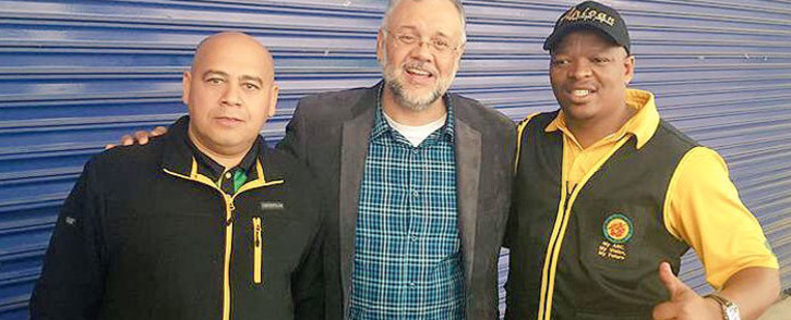 FILE: Ebrahim Rasool (centre) with WC ANC secretary Faiez Jacobs (left) and ANC regional leader in Cape Town Xolani Sotashe. Picture: @Xolani Sotashe/Twitter