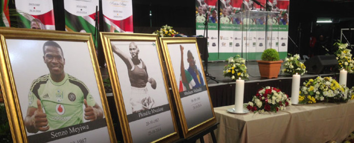 A combined memorial service of Senzo Meyiwa, Phindile Mwelase and Mbulaeni Mulaudzi held at the Standard Bank Arena on 30 October 2014. Picture: Reinart Toerien/EWN