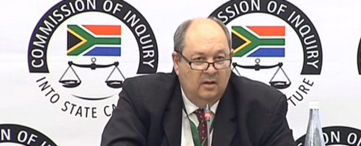 A screenshot of former Crime Intelligence official Kobus Roelofse appearing at the state capture inquiry on 17 September 2019. Picture: SABC Digital News/Youtube