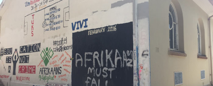 'Afrikaans Must Fall' scrawled across a wall at the University of Pretoria amid protests over its language policy. Picture: Christa Eybers/EWN.