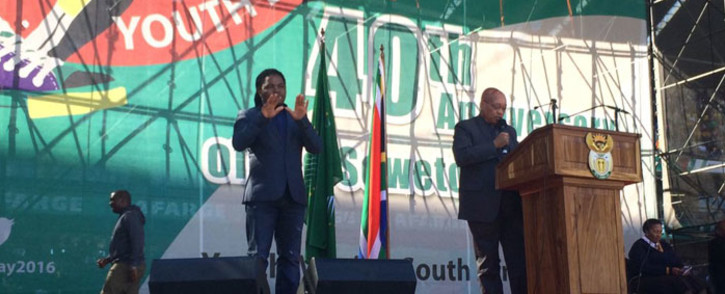 President Jacob Zuma speaks during the Youth Day celebration in Soweto. Picture: Dineo Bendile/EWN.