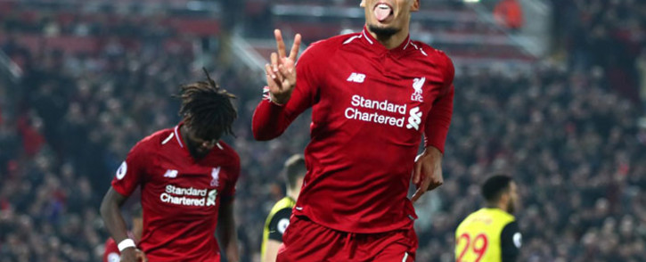 Liverpool's Virgil van Dijk celebrates his goal. Picture: @LFC/Twitter