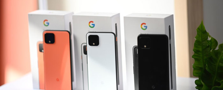 The new Google Pixel 4 phone is on display during a Google product launch event called Made by Google 19 on 15 October 2019 in New York City. Picture: AFP