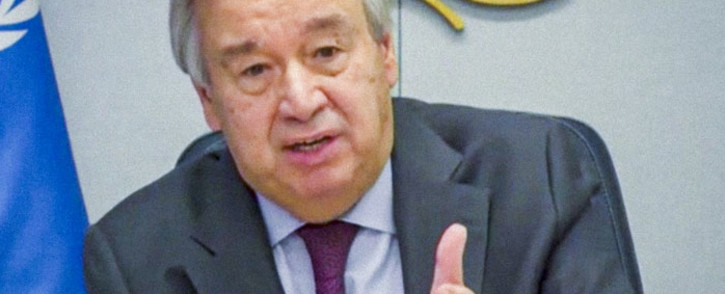 FILE: United Nations Secretary-General Antonio Guterres virtually addresses a roundtable on Climate Ambition during the 75th session of the United Nations General Assembly, on 24 September 2020, in New York. Picture: AFP