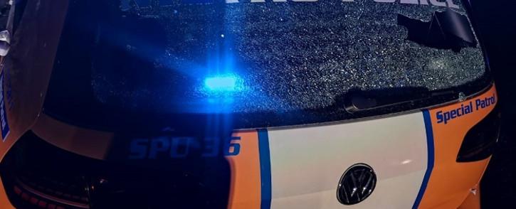 FILE: A damaged JMPD vehicle. Picture: @JoburgMPD/Twitter