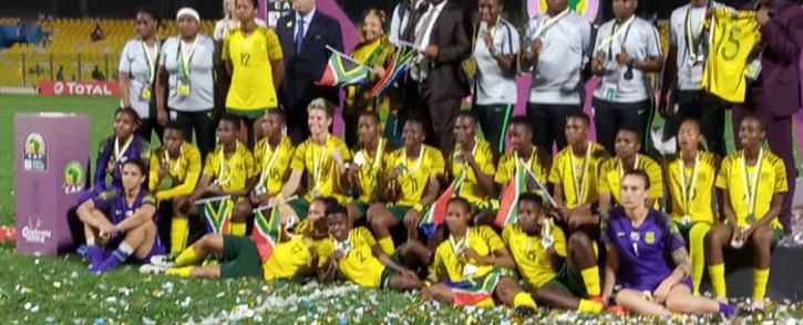 Banyana Banaya receive their runners-up medals following their defeat to Nigeria in the Women's Africa Cup of Nations final in Accra, Ghana on 1 December 2018. Picture: @CAF_AWCON/Twitter