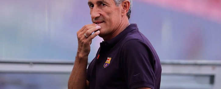 Barcelona coach Quique Setien arrives for a training session at the Luz stadium in Lisbon on 13 August 2020 on the eve of the UEFA Champions League quarterfinal football match between FC Barcelona and Bayern Munich. Picture: AFP