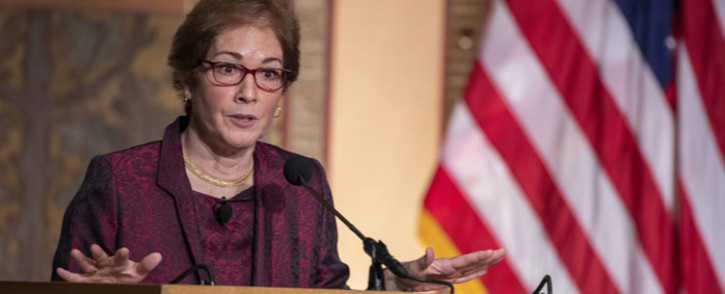 "Former US Ambassador Marie Yovanovitch speaks during a ceremony awarding her the Trainor Award for ""Excellence in the Conduct of Diplomacy"" at Georgetown University on 12 February 2020 in Washington, DC. Picture: AFP"