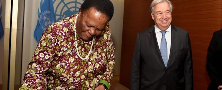 Dirco Minister Naledi Pandor at the UN headquarters in New York. Picture: @Dirco_ZA/Twitter