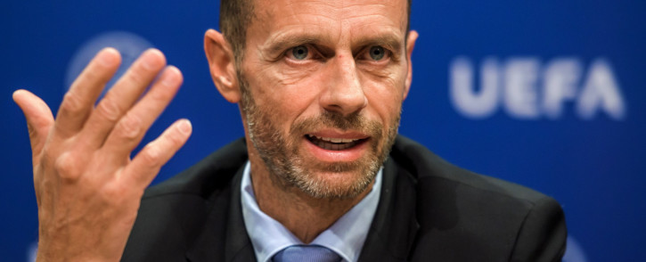 FILE: Uefa president Aleksander Ceferin holds a press conference on 20 September 2017 at the Uefa headquarters in Nyon. Picture: AFP.