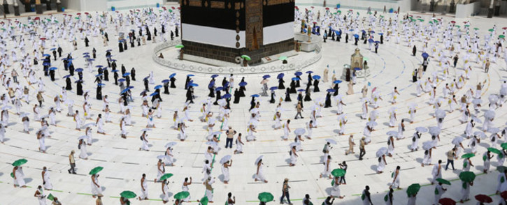 FILE: A picture taken on 29 July 2020 shows pilgrims circumambulating around the Kaaba, Islam's holiest shrine, at the centre of the Grand Mosque in the holy city of Mecca, at the start of the annual Muslim Hajj pilgrimage. Picture: AFP