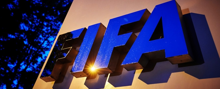 The Fifa logo is pictured at the Fifa headquarters on 2 June, 2015 in Zurich. Picture: AFP.