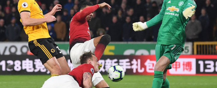 Manchester United concede a goal to Wolverhampton Wanderers in their English Premier League match on 2 April 2019. Picture: @Wolves/Twitter