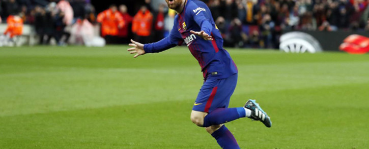 Barcelona forward Lionel Messi celebrating scoring a goal against Atletico Madrid. Picture: @FCBarcelona/Twitter.