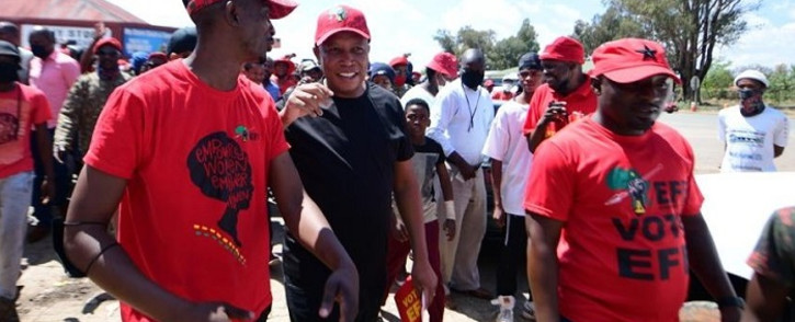 EFF leader Julius Malema doing a walkabout and pamphleteering in Swartruggens Town in the North West on Saturday, 9 October 2021. Picture: EFF South Africa/Twitter.
