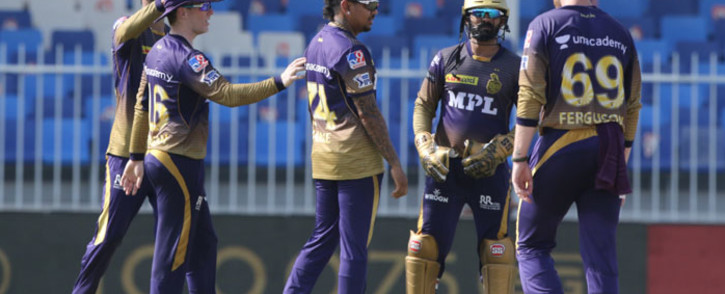 Kolkata Knight Riders players celebrate the fall of a wicket during their Indian Premier League match against the Delhi Capitals on 28 September 2021. Picture: @IPL/Twitter