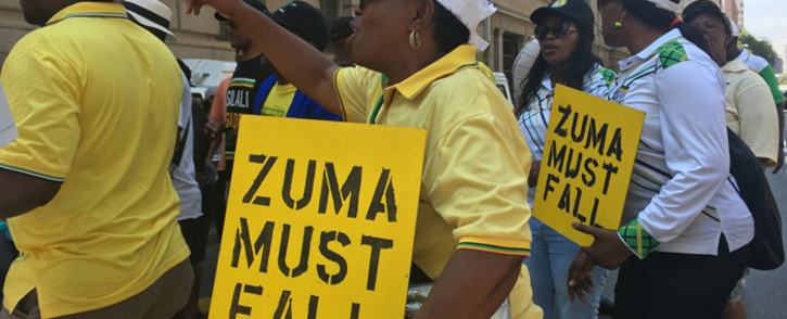 ANC members who are also part of Defend Luthuli House campaign, call for Jacob Zuma to step down on 5 February in Johannesburg. Picture: Ihsaan Haffajee/EWN