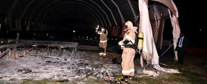 A prayer tent belonging to Shepherd Bushiri's Enlightened Christian Gathering Church was set alight on 12 February 2020. Picture: @MujuruShow/Twitter
