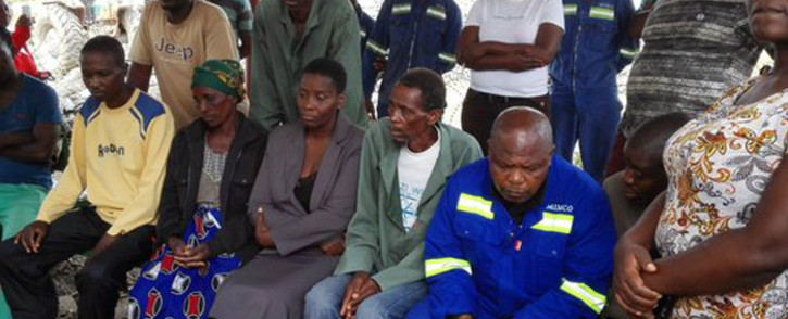 Family members of the trapped miners at Lily Mine on 11 February, 2016. Religious leaders pray for the trio and the families. Kgothatso Mogale/EWN.
