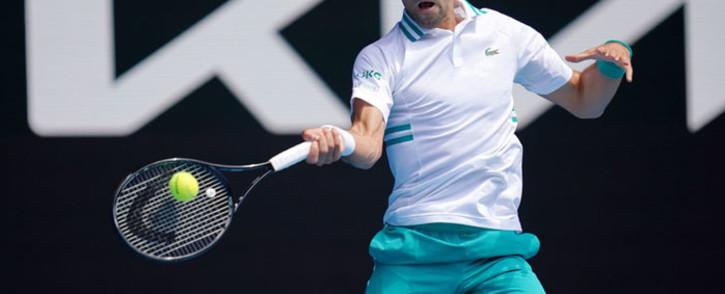Novak Djokovic in action at the Australian Open on 10 February 2021. Picture: @AustralianOpen/Twitter.