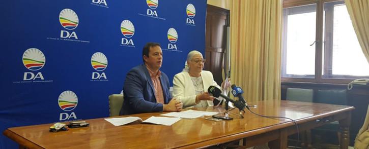 The DA's John Steenhuisen (left) and Natasha Mazzone (right) briefed the media in Cape Town on Sunday 7 October 2018: Picture: Monique Mortlock/EWN