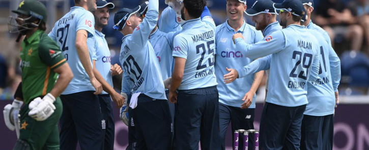 England players celebrate the fall of a Pakistan wicket during their ODI match on 8 July 2021. Picture: @englandcricket/Twitter