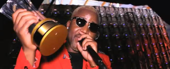 Cassper Nyovest holding up his award at Channel O Music Video Awards. Picture: Channelodstv.com